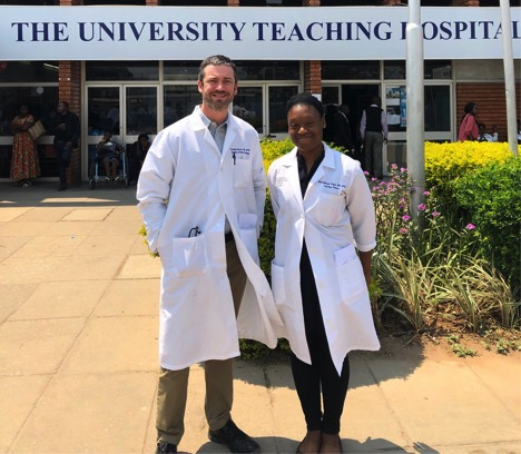 UMB Infectious Disease Fellow Dr. Mona Toeque with Zambia-based Ciheb faculty Dr. Cassidy Claassen at the University Teaching Hospital in Lusaka, Zambia.