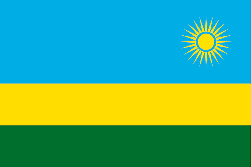 Image of Rwanda flag with light blue, yellow, and green horizontal bars with a yellow sun in the top right.